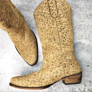 Roper Snip Toe Leopard Suede Western Boots Size 9